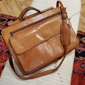 Vintage British Tan Leather briefcase multi pocket